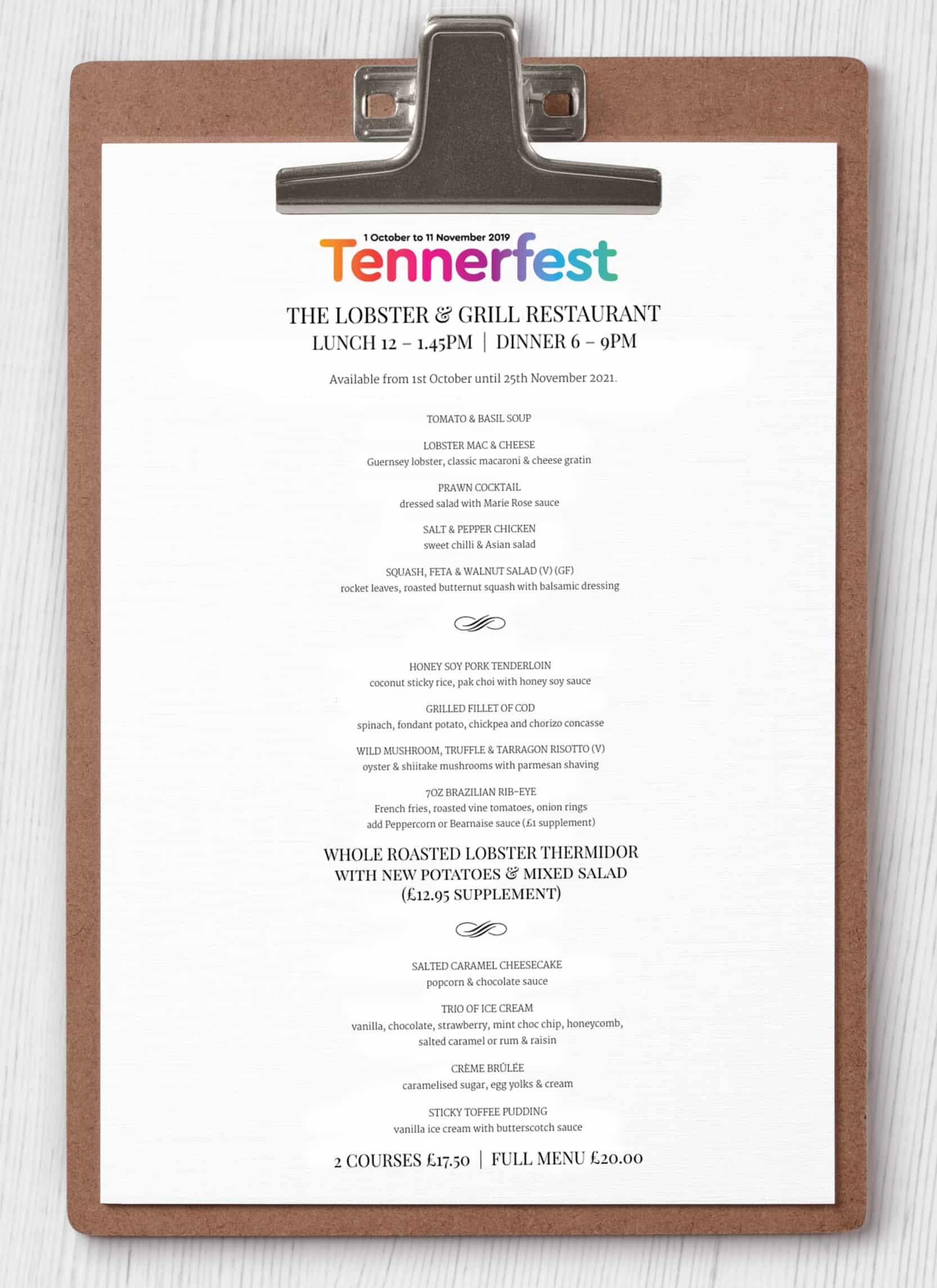 TENNERFEST MENU 2021 The Lobster & Grill